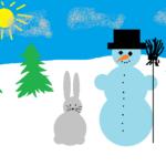 maastik lumememme ja jänesega